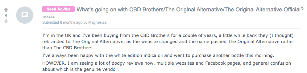 CBD Brothers review on Reddit