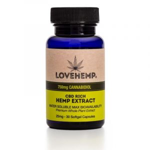 LoveHemp CBD Softgel Capsules (30 x 25mg) 750mg CBD
